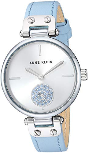 Anne Klein Women's AK/3381SVLB Swarovski Crystal Accented Silver-Tone and Light Blue Leather Strap Watch ()