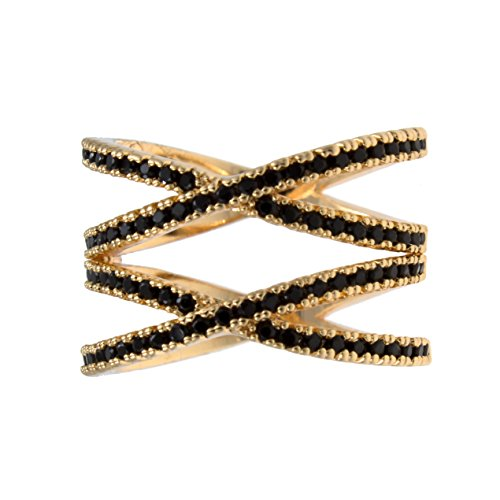 10 X Gold Plated - Impression Collection Double X Rings Cross Criss Trendy Fashion Statement Clear CZ Cocktails Gold Plated Size 6-10 (Gold Black, 10)