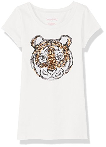 Price comparison product image Colette Lilly Toddler Girls' Short Sleee Sequin Tee, Vanilla Tiger, 4T