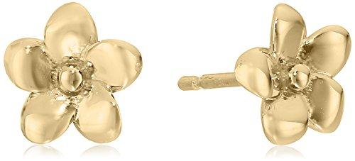 14k Italian Yellow Gold Flower Stud Earrings 14k Yellow Italian