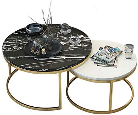 100% Authentiek LAMXF woonkamertafel modern luxe smeedijzeren salontafel - woonkamer slaapkamer kantoor receptie rond natuurlijk marmer werkblad sofa bijzettafel middentafel VuPZ47d