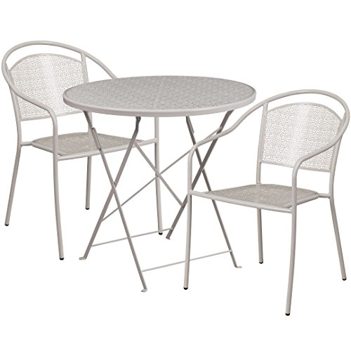 MFO 30'' Round Light Gray Indoor-Outdoor Steel Folding Patio Table Set with 2 Round Back Chairs