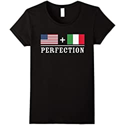 Womens American + Italian = Perfection Flag T-Shirt XL Black