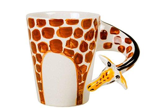 Giraffe Mug (Giraffe 8oz Orange Handmade Ceramic Coffee Mug (10cm x 8cm))