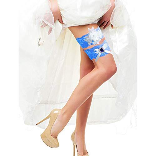 m·kvfa Wedding Garters for Bride Bridal Lace Garter Set with Blue Rhainstone Wedding Belt Bridal Accessories (Blue)