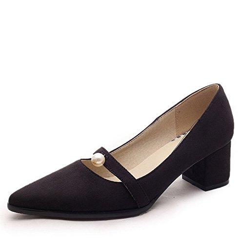 Talon AllhqFashion Dépolissement Unie Couleur Chaussures Pointu Femme à Légeres Correct Noir Tire ZqpTqIrwx
