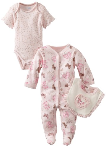 Vitamins Baby-Girls Newborn 3 Piece Footed Coverall Set Butterflies