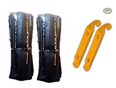 Continental Ultra Sport II 700x23c Road Bike Folding Tire COMBO (2 Tires & 2 Tire Levers)