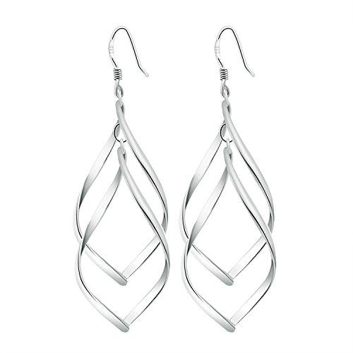 [Arlumi Women's Classic 925 Silver Plated Double Linear Loops Wire Dangle Drop Earrings] (Wire Drop Loops)