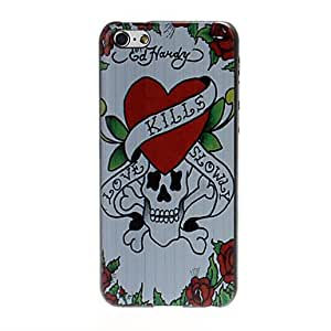 Skull and Heart Pattern Plastic Hard Case for iPhone 5C