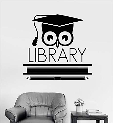 - xsoale Wall Decal Sticker Art Mural Home Dcor Quote Logo Signboard Library Learning Scientist Owl