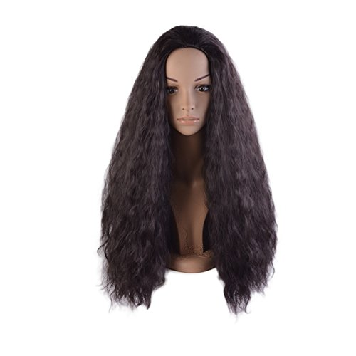 Movie Adult Cosplay Costume Wig Long Afro Kinky Curly Water Wave Dark Brown Hair (Kinky Costumes)