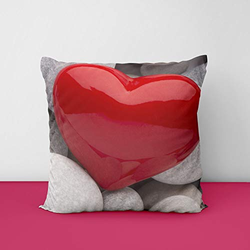 41WZq9Nv NL Stone Red Heart Square Design Printed Cushion Cover
