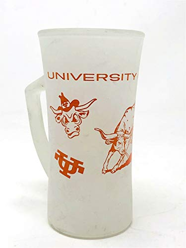 "Vintage 1960's University of Texas Longhorns 5 3/4"" Frosted Glass Mug"