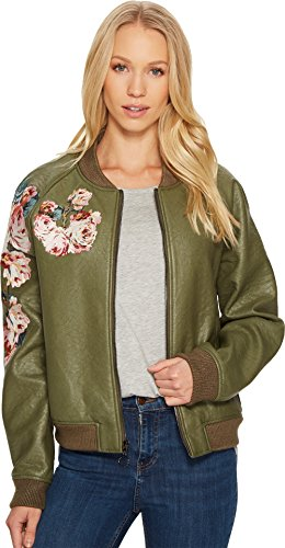 Joe's Jeans Women's Pu Bomber Jacket, Forest, (Plaid Crop Jacket)