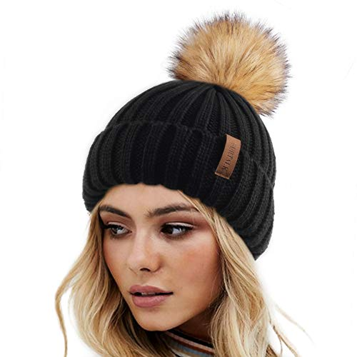 Womens Knitted Winter Pom Beanie Hat Faux Fur Pom Pom bobble Hat beanie for girls,One Size Black