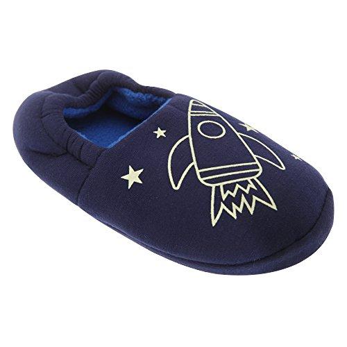 Kinder Jungen Hausschuhe mit Weltraum-Design, leuchten im Dunkeln (34-36 EU) (Marineblau (Raketen-Design))
