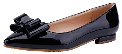 CAMSSOO Womens Ladies Sweet Slip On Work School Shoes Comfortable Ballet Pumps 8Black d0DbK6ik