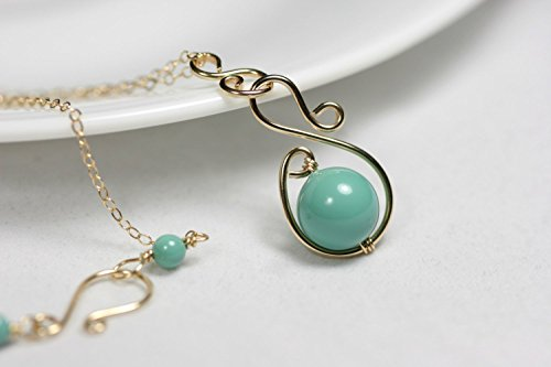 Gold Green Necklace Jade Swarovski Pearl Necklace Gold Wire Wrapped Necklace (Swarovski Necklace Jade)