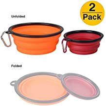 YueseDG Collapsible Silicone Pet Bowl,Pop-up Dog Food Cup,Foldable Cat Water Dish Food Grade BPA Free Travel Camping Bowl Available in Three Combinations (Orange + Red)