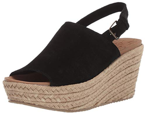 Skechers Women's BRIT-High-Wedge Suede Sling Back Sandal, Black, 7 M US