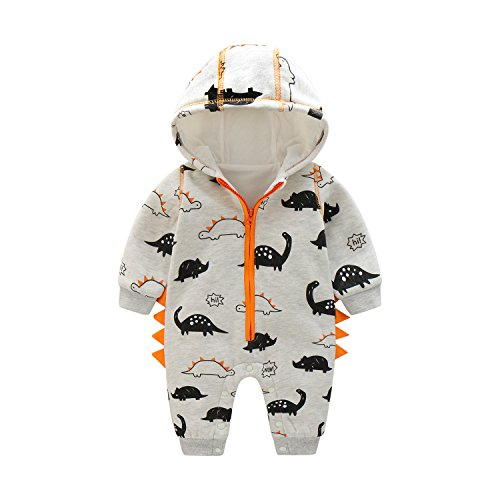 Newborn Baby Boy Baby Girl Unisex Clothes Long Sleeve Dinosaur Hoodies Winter Warm Romper outfit 3-6 months