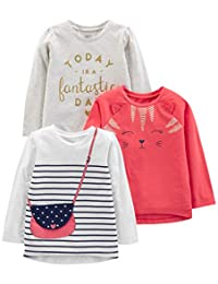Simple Joys by Carter's Girls - Lote de 3 Camisetas de Manga Larga