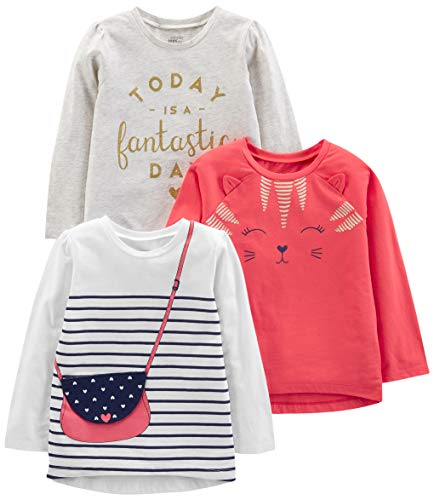 Simple Joys by Carter's Girls' Toddler 3-Pack Graphic Long-Sleeve Tees, Kitty/Glitter/Purse, 5T (Valentines Carters Shirt)