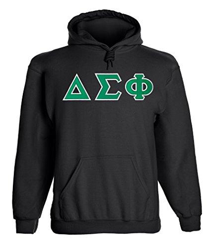 Delta Sigma Phi Twill Letter Hoody Black Large Black Tackle Twill Hoody Sweatshirt