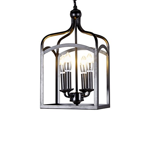 New Galaxy Lighting Antique Black finish 4-light Hanging Lantern Iron Frame Pedant (Antique Iron Finish Chandeliers)
