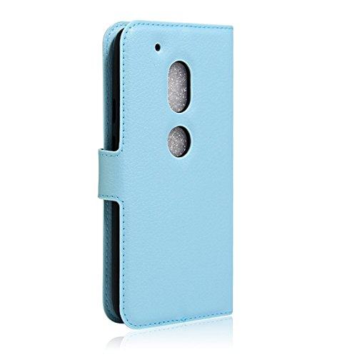 Funda de Cuero para Moto G4 Play, Fukalu Cubierta de Cuero Cubrir Carpeta Cubierta de la Tapa y de pie con el Caso Titular de la Tarjeta de Crédito la Función para Moto G4 Play 5 (Rosa) Azul