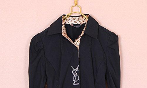 ZAMME Delgado OL de las mujeres del mono remata la blusa con botones camisas clásicas Negro B