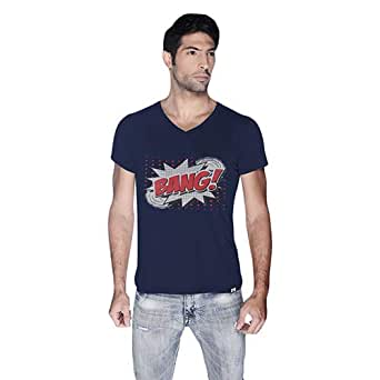 Creo Bang Retro T-Shirt For Men - S, Navy Blue