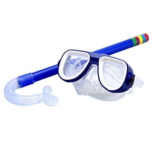Nrpfell Children Safe Snorkeling Diving Mask + Snorkel Set Swimming Set Water Sports For Kid 3-8 Years Old Blue