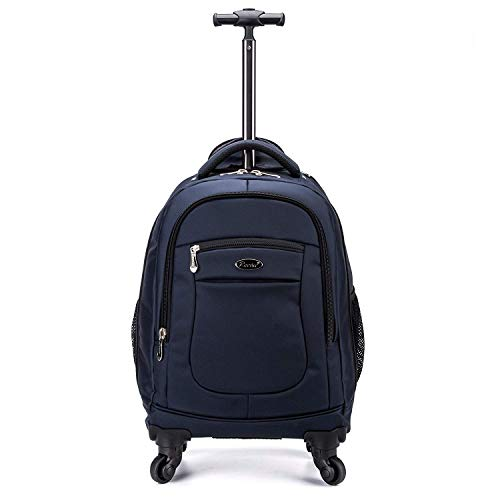 Racini Nylon Waterproof Rolling Backpack, Freewheel Travel Wheeled Backpack, Carry-on Luggage with Anti-Theft Zippers(Navy)
