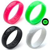 KUSI Silicone Wedding Ring Band for Women Committed to Active Lifestyle, Infinity bands, antibacterial Rubber, Comfort Fit, 8 Colors- Black, Glow in the Dark and More, Singles and 4 Pack Sets