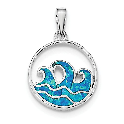 925 Sterling Silver Blue Created Opal Wave Pendant Charm Necklace Sea Shore Beach Life Outdoor Nature Fine Jewelry Gifts For Women For Her