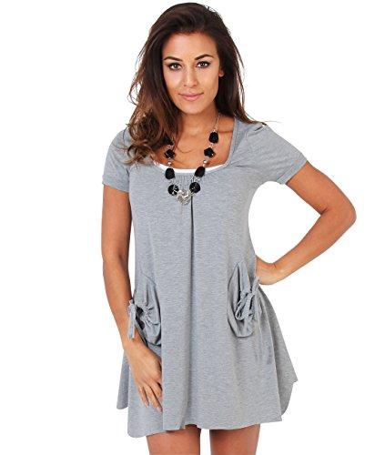 KRISP Tunique Femmes Manches Gris et 3984 Grau avec Courtes Robe 23 pour Haut Collier rqHZrAxw