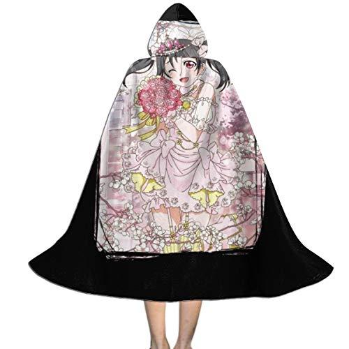 Love Live Nico Yazawa Bride Unisex Kids Hooded Cloak Cape Halloween Xmas Party Decoration Role Cosplay Costumes Black (Nico Love Live Christmas)
