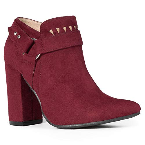 - RF ROOM OF FASHION Lady's Pointed Toe Wrapped Chunky Heel Dress Ankle Booties Pumps Wine (6)