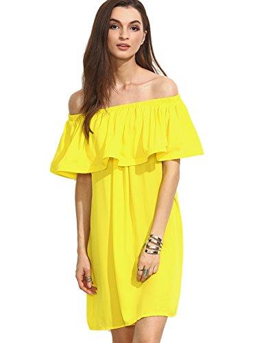MakeMeChic Women's Off Shoulder Ruffle C - Yellow Ruffle Shopping Results