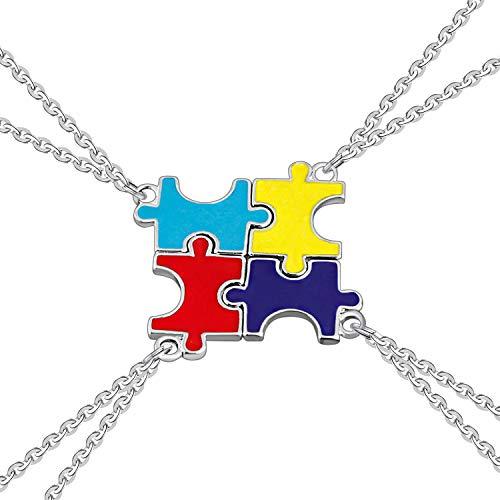 (4 Pcs) Best Friend Necklaces, Boormanie Womens Fashion Puzzle Pendant, Metal Chains (Multicolor) -