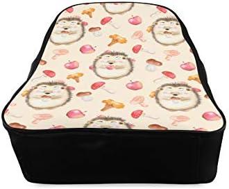 Adorable Cute Hedgehogs With Apple Womens Bookbag Schools Bags Girls Backpack Print Zipper Students Unisex Adult Teens Gift