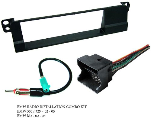 BMW 325: 02 03 04 05 / 330: 02 03 04 05 - Stereo wiring Harness, Dash Install Kit Faceplate, with FM Antenna Adaptor (Combo Complete Aftermarket Stereo Wire and Installation Kit)