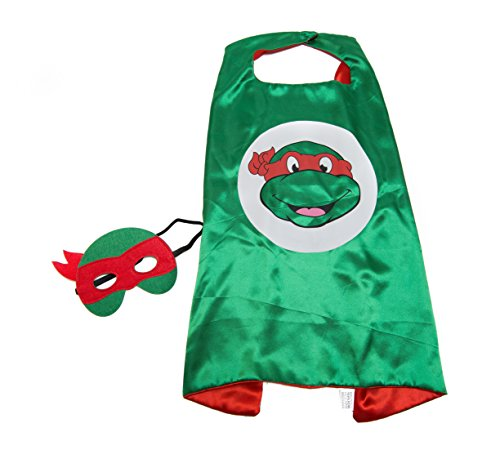 Kids Capes Superhero and Princess Cape and Mask Sets, Great for Dressing Up with Costumes & Playing (Ninja Turtles - Red - Raphael)