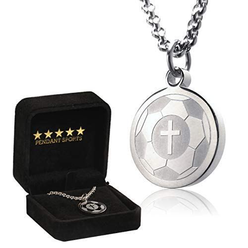 (One Life Soccer Cross Necklace by Pendant Sports. Presented in Black Velvet Gift Box. Crafted in Stainless Steel with an Inspiring Luke 1:37 Bible Verse on Back. Many Sports)