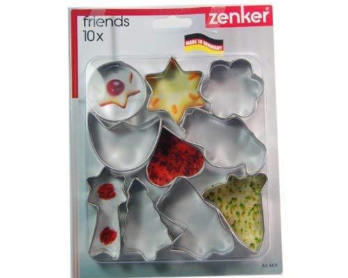 Set Of 10 Zenker 7731 Cookie CutterPatisserie 1.18-2.76 x 0.67 Silver