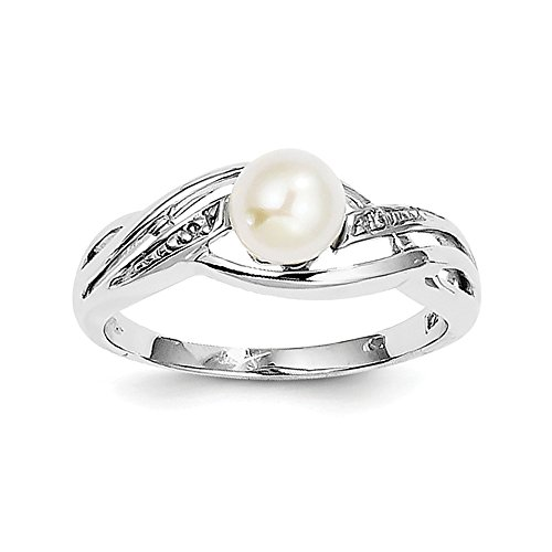 (Sterling Silver Rhodium Plated Diamond and FW Cultured Pearl Ring)
