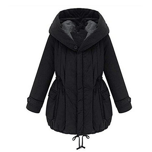 KingSo Women Winter Warm Hooded Zipper Quilted Parka Cotton Padded Jacket Thick Coat M