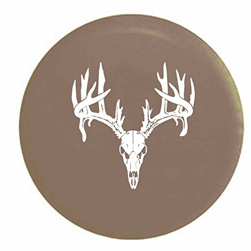 Pike Deer Skull Antlers Hunting Archery Buck Rack Trailer RV Spare Tire Cover OEM Vinyl Tan 29 in